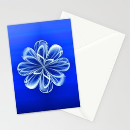 White Bloom on Blue Stationery Cards