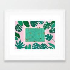Green leaves pink tiles Framed Art Print