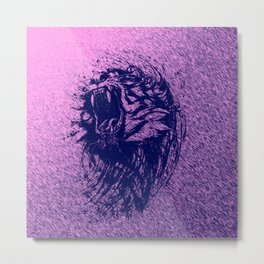 Tiger Purple Metal Print