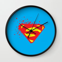 Square Heroes - man of steel Wall Clock