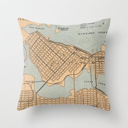1906 Vintage Map of Vancouver Throw Pillow