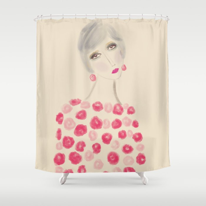 Woman in pink Shower Curtain