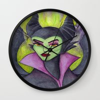 maleficent Wall Clocks featuring Maleficent by Tanya Davis Art