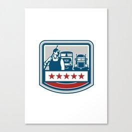 Power Washer Worker Truck Train Crest Retro Canvas Print