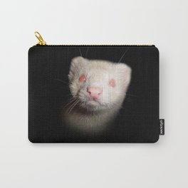Albino Ferret black background Carry-All Pouch