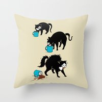 coffee Throw Pillows featuring Coffee Cat by Boots