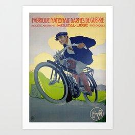 Vintage Belgium Bike Poster Art Print