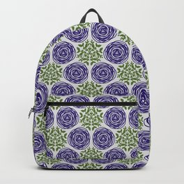 SCION purple blue spring bloom with greenery pattern Backpack