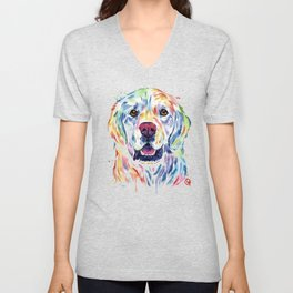 Golden Retriever Watercolor Pet portrait Painting Unisex V-Neck