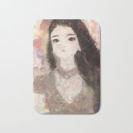 Girl's Portrait with Long Hair Impressionist Painting Bath Mat
