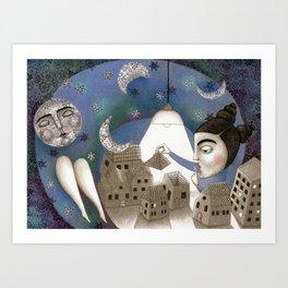 Go to Sleep, Says the Night Art Print