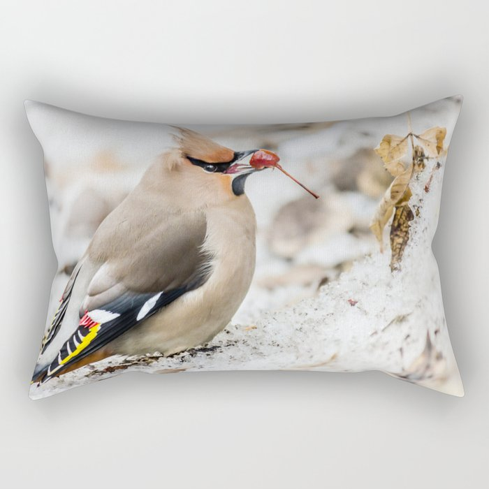 Bohemian waxwing Rectangular Pillow