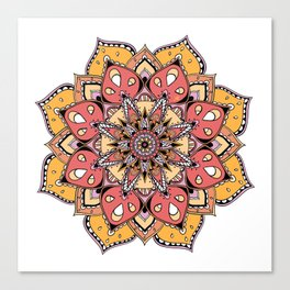 Mandala Orange Stars By Sonia H. Canvas Print