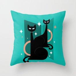 Fashionable Felines Atomic Age Black Kitschy Cats Throw Pillow