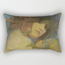 "Alphonse Mucha ""Study for a poster - Fruit"" Rectangular Pillow"