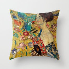 Gustav Klimt Lady With Fan Throw Pillow