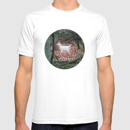 The White Deer Of Winter In Forest Green T-shirt