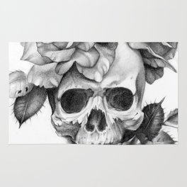 Black and white Skull and Roses Rug