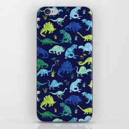 Watercolor Dinosaur Blue Green Dino Pattern iPhone Skin