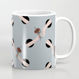 In Love - hands with flowers - GRAY #pattern Coffee Mug