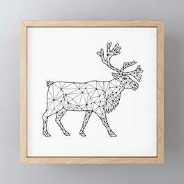 Caribou Side Nodes Black and White Framed Mini Art Print