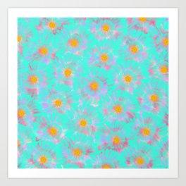 Abstract pink aqua orange watercolor brushstrokes daisies Art Print