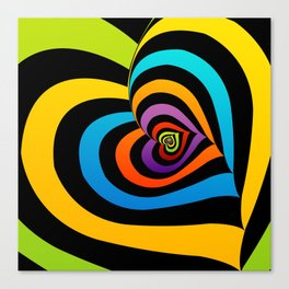 Valentine hearts twirling in rainbow colors Canvas Print
