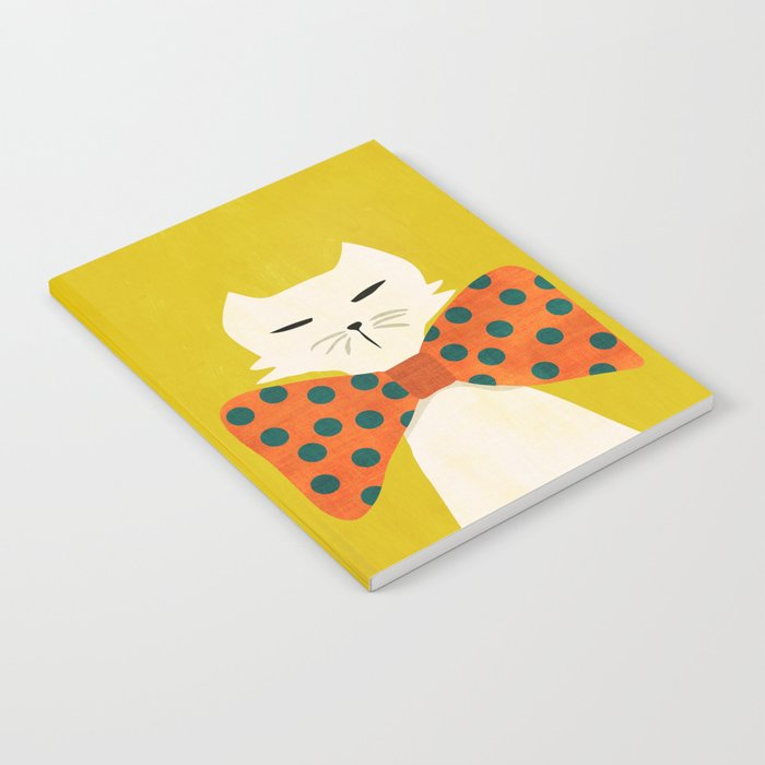 Cat with incredebly oversized humongous bowtie Notebook