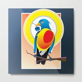Bird Eye Blue Glass Cherry Metal Print