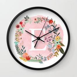 Flower Wreath with Personalized Monogram Initial Letter E on Pink Watercolor Paper Texture Artwork Wall Clock