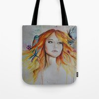 jennifer lawrence Tote Bags featuring Jennifer Lawrence Watercolor (Light) by Halinka H