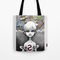 superheroes Tote Bags featuring Superheroes SF by Otto Björnik
