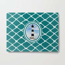 Bodie Island Lighthouse-North Carolina -With Nautical Netting Background on Teal Metal Print