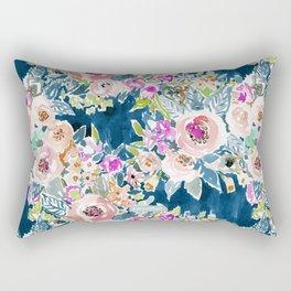 NAVY SO LUSCIOUS Colorful Watercolor Floral Rectangular Pillow