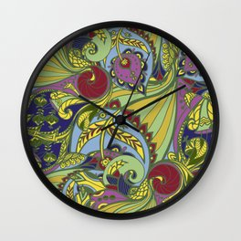 Drawn pattern in Indian style Wall Clock