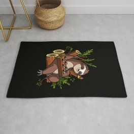 Lazy Sloth Sushi Lover Animal Rug