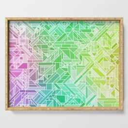 Bright Gradient (Violet Purple Lime Green Neon Yellow) Geometric Pattern Print Serving Tray