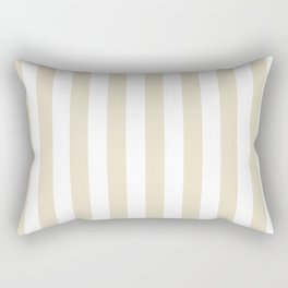 Narrow Vertical Stripes - White and Pearl Brown Rectangular Pillow