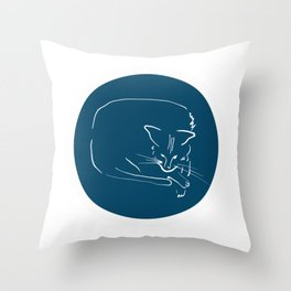 Relaxing Cat in blue circle Throw Pillow