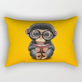 Cute Baby Chimp Reading a Book on Yellow Rectangular Pillow