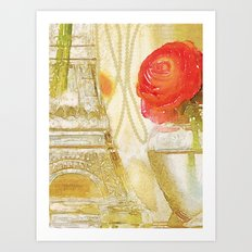 Doré -- Gilded Still Life with Red Ranunculus and Collage Effects Art Print