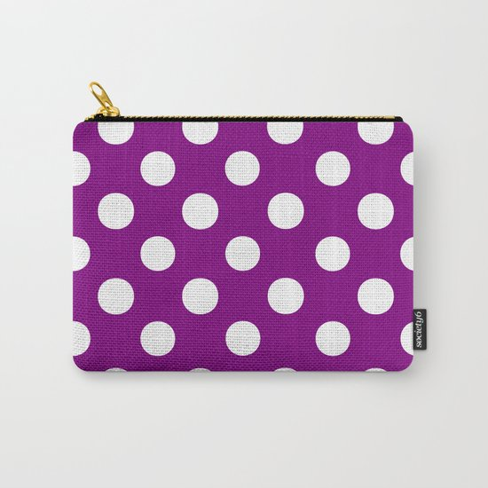 Polka Dots (White/Purple) Carry-All Pouch