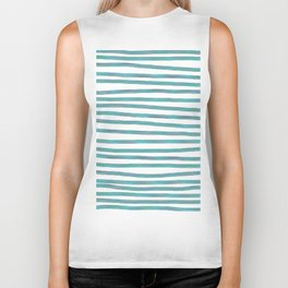 Ocean Green Hand-painted Stripes Biker Tank
