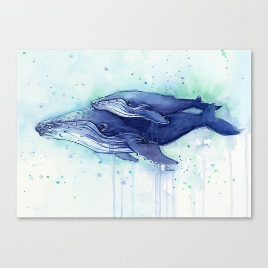 Humpback Whale Watercolor Mom and Baby Painting Whales Sea Creatures Canvas Print
