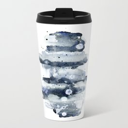 Indigo Abstract Watercolor Metal Travel Mug