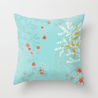 under the sea Throw Pillows featuring Under the Sea by Simi Design