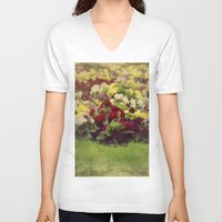 vintage flowers V-neck T-shirts featuring Vintage Pretty Flowers by Victoria Herrera