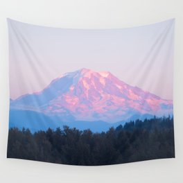 Mount Rainer Alpenglow Wall Tapestry