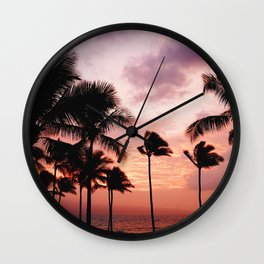 Palm Tree Sunset Wall Clock