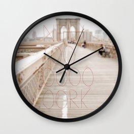 New York romantic typography vintage photography Wall Clock